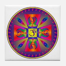 OM MANDALA Tile Coaster