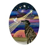Brindle Greyhound Xmas Star Oval Ornament