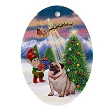 Fawn Pug Watching Santa Take Off Oval Ornament