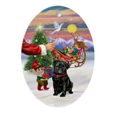 Santa's Treat for his Black Pug Oval Ornament