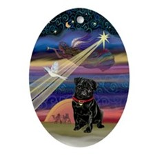 Black Pug & Christmas Star Oval Ornament
