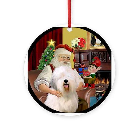Santa's Old English Sheepdog Ornament (Round)