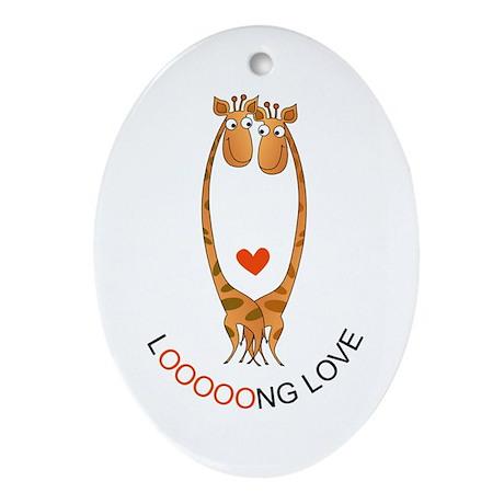 Giraffes Love Oval Ornament