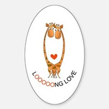 Giraffes Love Oval Decal
