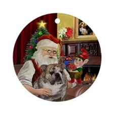 Santa's English Bulldog Ornament (Round)