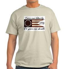 Give Me Liberty American Flag Ash Grey T-Shirt