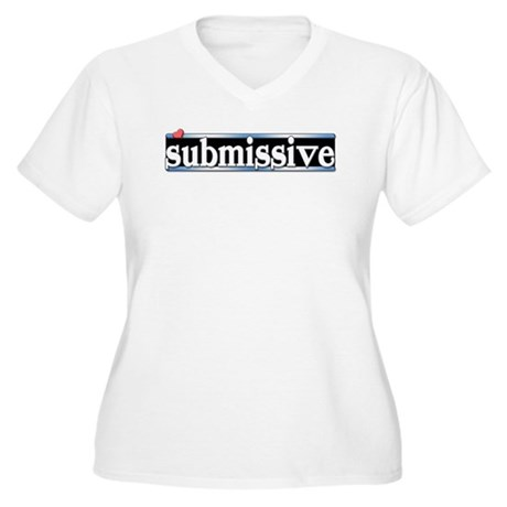 submissive Women's Plus Size V-Neck T-Shirt