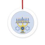 Star of David / Menorah Hanukkah Ornament (Round)