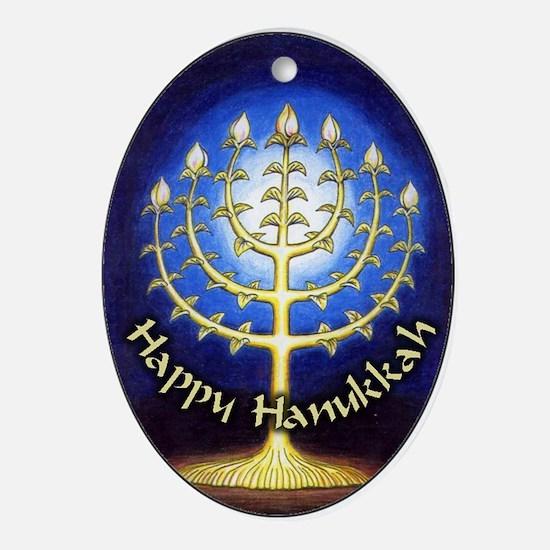 Gorgeous Happy Hanukkah Menorah Oval Ornament