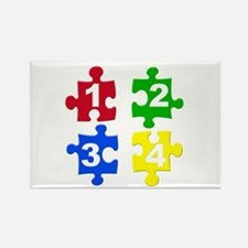 Four Colour Jigsaw PieceRectangle Magnet(10 pack)