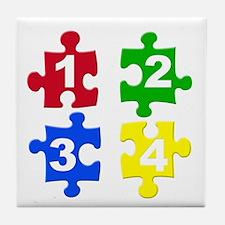 Four Colour Jigsaw Piece Tile Coaster