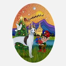 Whippet Fantasy Christmas Oval Ornament