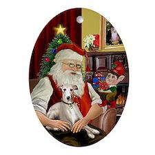 Santa's Whippet Oval Ornament