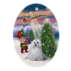 Maltese & Santa's Take Off Oval Ornament