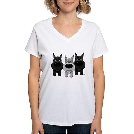 Schnauzer Nose/Butt Women's V-Neck T-Shirt