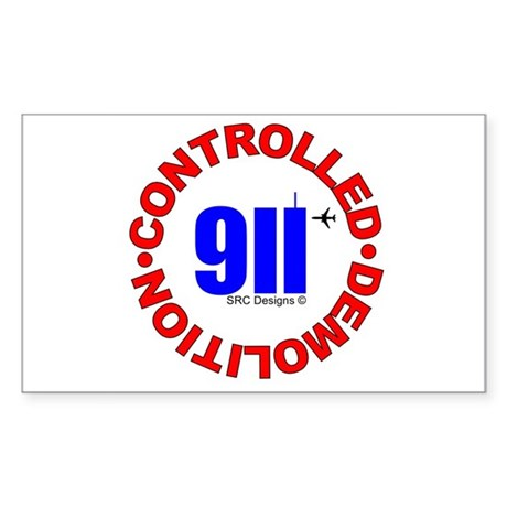 911 CONSPIRACY CONTROLLED DEM Rectangle Sticker