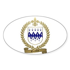 GAUDIN Family Crest Oval Decal