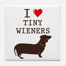 Tiny Wiener Dachshund Tile Coaster