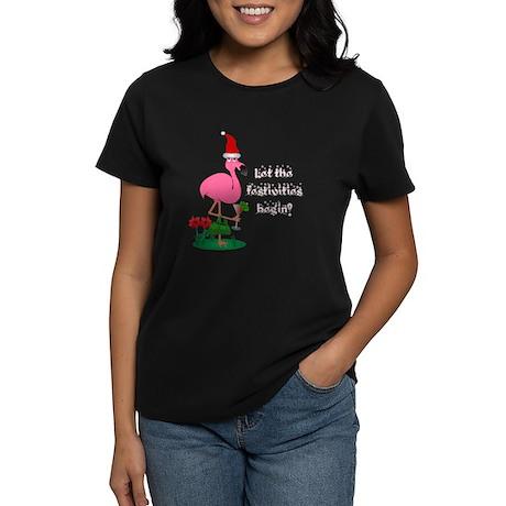 Christmas flamingo Women's Dark T-Shirt