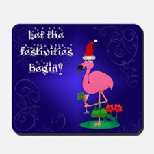 Christmas flamingo Mousepad