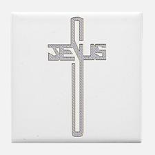 Gold Diamond Jesus Cross Tile Coaster