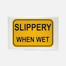 Slippery When Wet Sign Rectangle Magnet