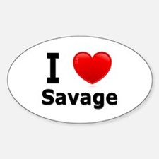 I Love Savage Oval Decal