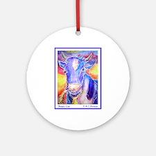 Cow! Purple cow art! Ornament (Round)