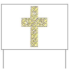 Gold Celtic Knot Cross Yard Sign