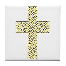 Gold Celtic Knot Cross Tile Coaster