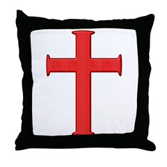 Bright Red Cross Throw Pillow