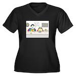 Super Cat Women's Plus Size V-Neck Dark T-Shirt