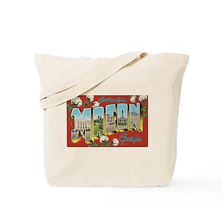 Greetings from Macon, Georgia Vintage Art Tote Bag