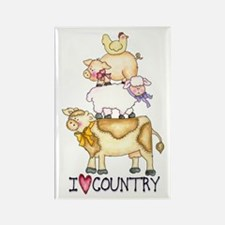 I Love Country Rectangle Magnet