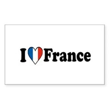I Love France Rectangle Decal