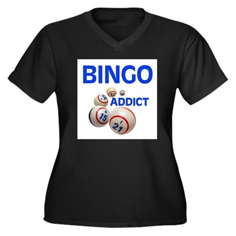 BINGO !!! Women's Plus Size V-Neck Dark T-Shirt