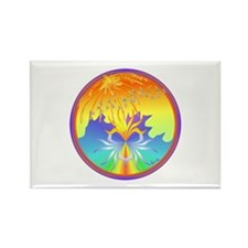 Sunset Healing OM Mandala Rectangle Magnet