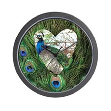 Peacock In a Heart Wall Clock