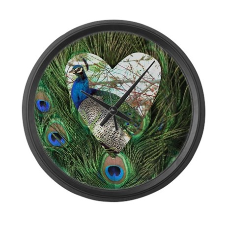 Peacock In a Heart Large Wall Clock