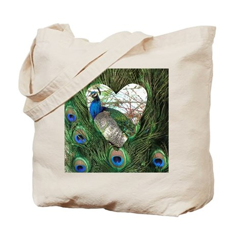 Peacock In a Heart Tote Bag