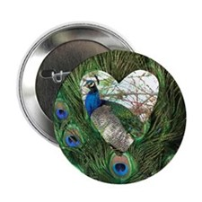 """Peacock In a Heart 2.25"""" Button (10 pack)"""