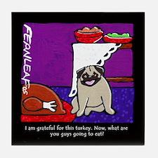 Pug Thanksgiving Dinner Tile Coaster