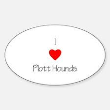 I Love Plott Hounds Oval Decal