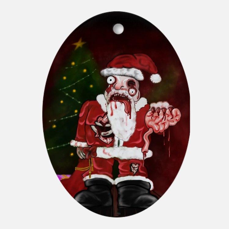 Zombie Santa Oval Ornament