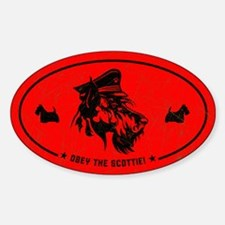 Obey the Scottie! Scottish Terrier Oval Decal