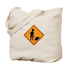 Construction Worker Sign Tote Bag