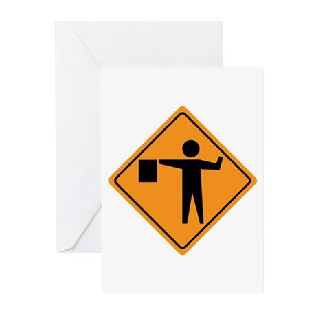 Flag Man Construction Sign Greeting Cards (Pk of 1