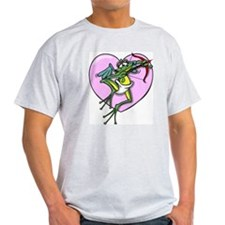 Valentine's Cupid Frog Ash Grey T-Shirt