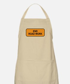 End Road Work Sign BBQ Apron