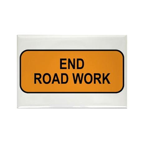 End Road Work Sign Rectangle Magnet (10 pack)